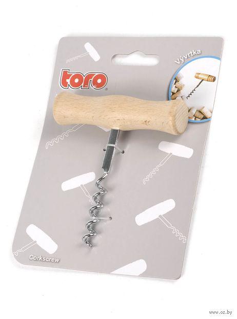 Штопор металлический с деревянной ручкой (10 см)
