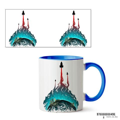 """Кружка """"Ракета"""" (голубая; арт. 490) — фото, картинка"""