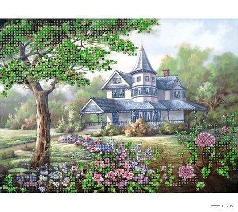 """Канва с нанесенным рисунком """"Коттедж в лесу"""""""