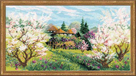 "Вышивка крестом ""Яблоневый сад"" (410х230 мм) — фото, картинка"