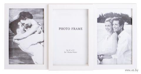 Рамка для фото пластмассовая на 3 фото (34х16,5 см)