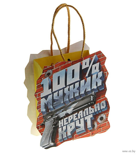 "Пакет бумажный подарочный ""100% мужик"" (16х18х6 см; арт. 10570437)"