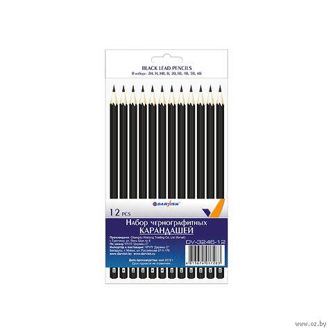 """Набор чернографитных карандашей """"Darvish"""" (12 шт; твердость: 2H-6B; арт. DV-3246-12)"""
