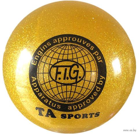 Мяч для художественной гимнастики RGB-102 (19 см; жёлтый с блёстками) — фото, картинка
