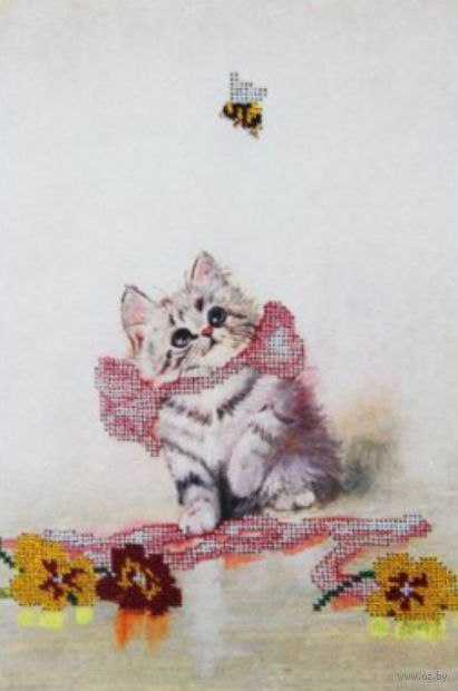 "Вышивка бисером ""Котёнок"" (200х300 мм) — фото, картинка"