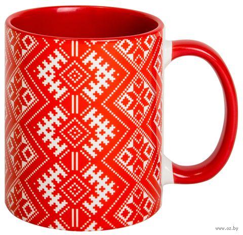 """Кружка """"Белорусский орнамент"""" (арт. 715, красная)"""