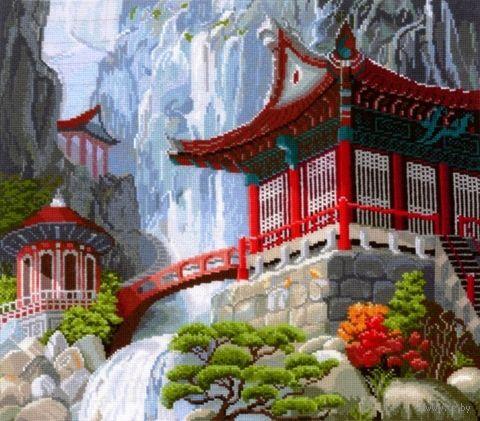 "Вышивка крестом ""Водопад и пагода"" (400x350 мм) — фото, картинка"