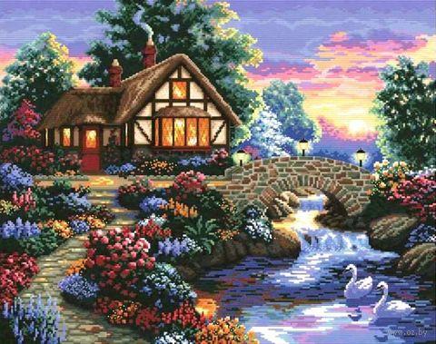 "Алмазная вышивка-мозаика ""Дом у речки"" (680х520 мм) — фото, картинка"