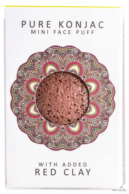 "Спонж для очистки лица ""Pure Konjac Mini Face Puff with Red French Clay. С красной глиной. Для зрелой кожи"" — фото, картинка"