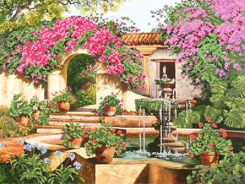 """Канва с нанесенным рисунком """"Фонтан в саду"""""""