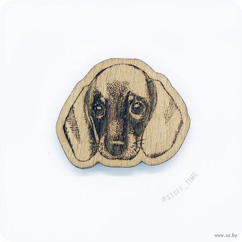 """Значок деревянный """"Такса"""" (арт. 0035) — фото, картинка"""
