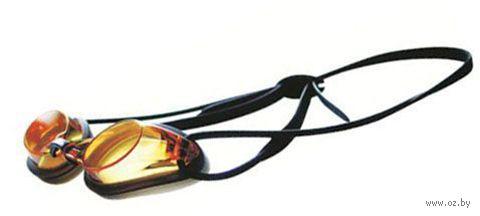 Очки для плавания стартовыe (чёрно-янтарные; арт. R102) — фото, картинка
