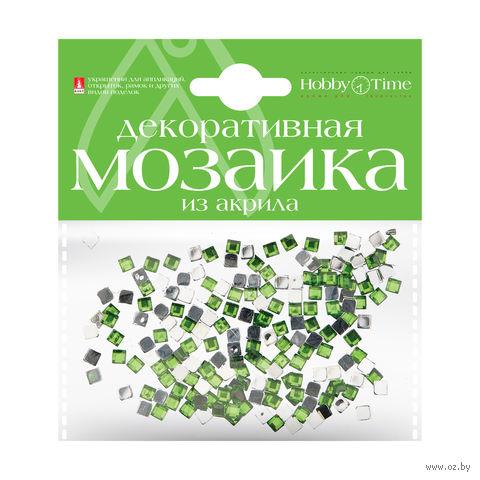 Мозаика декоративная из акрила №5 (4х4 мм; 200 шт.; зеленый) — фото, картинка