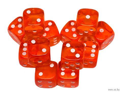 """Набор кубиков D6 """"Прозрачный"""" (12 мм; 12 шт.; оранжевый) — фото, картинка"""