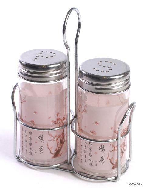 Набор баночек для специй стеклянных на подставке (2 шт, 9,5*4,5 см, арт. S9901/2-F128)