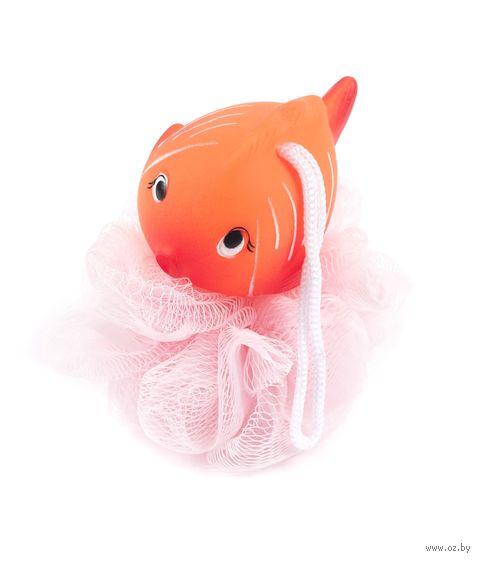 "Мочалка полиэтиленовая с фигуркой ""Рыба"" (100х120 мм; арт. NL074)"