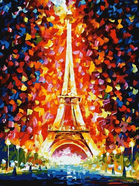 """Картина по номерам """"Париж - огни Эйфелевой башни"""" (400х300 мм) — фото, картинка"""