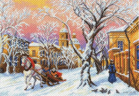 """Канва с нанесенным рисунком """"Зимний вечер"""""""