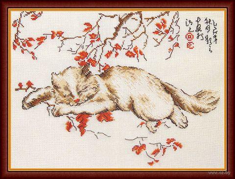 """Вышивка крестом """"Спящий кот"""" (340x255 мм) — фото, картинка"""
