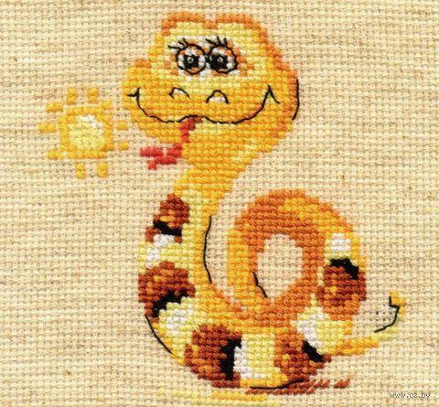 "Вышивка крестом ""Добрая змейка"" (90х100 мм) — фото, картинка"