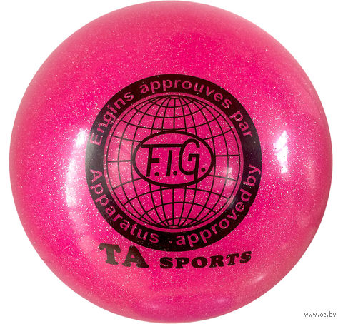 Мяч для художественной гимнастики RGB-102 (19 см; розовый с блёстками) — фото, картинка