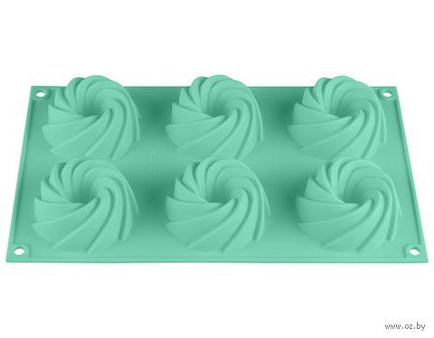 Форма силиконовая для выпекания кексов (292x173x35 мм; бирюзовая) — фото, картинка