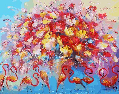 """Картина по номерам """"Танец красного фламинго"""" (400х500 мм) — фото, картинка"""