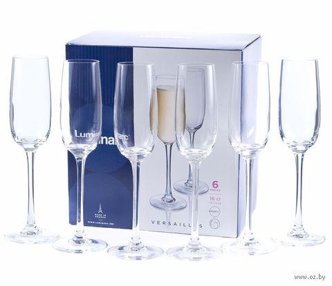 """Бокал для шампанского стеклянный """"Versailles"""" (6 шт.; 160 мл) — фото, картинка"""