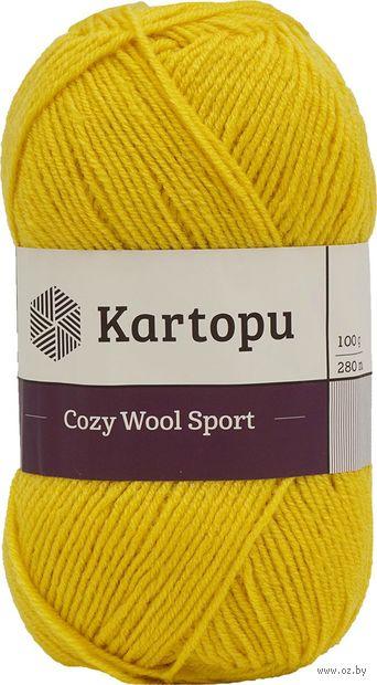 "Пряжа ""KARTOPU. Cozy Wool Sport №K1321"" (100 г; 280 м; темно-желтый) — фото, картинка"