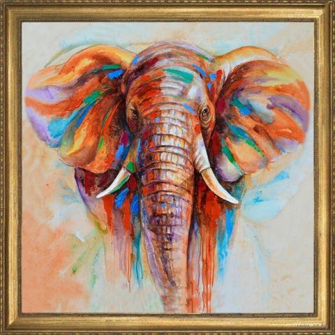 """Вышивка пайетками """"Слон"""" (300х300 мм) — фото, картинка"""