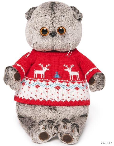 """Мягкая игрушка """"Басик в свитере с оленями"""" (25 см) — фото, картинка"""