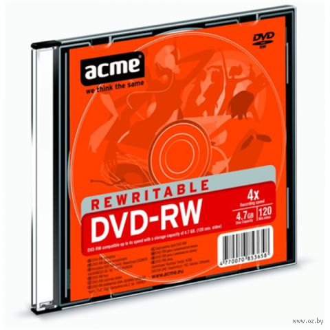 Диск DVD+RW 4.7Gb 4x Acme Slim Case