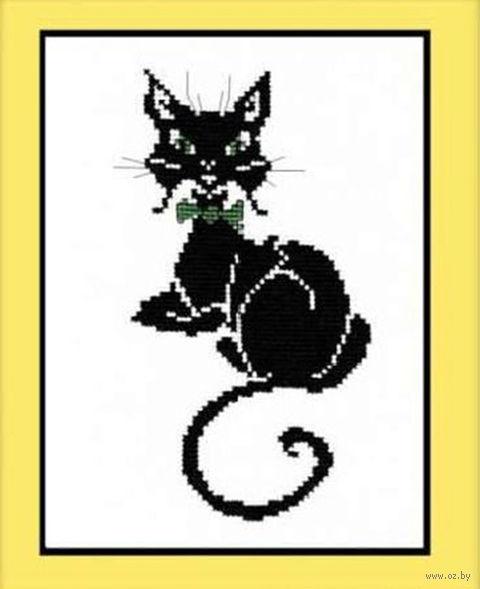 """Вышивка крестом """"Кот с бабочкой"""" (140x220 мм) — фото, картинка"""