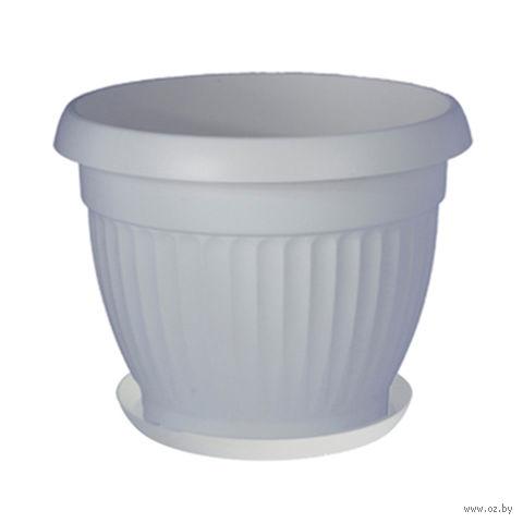 """Цветочный горшок с подставкой """"Дона"""" (20 см; белый) — фото, картинка"""