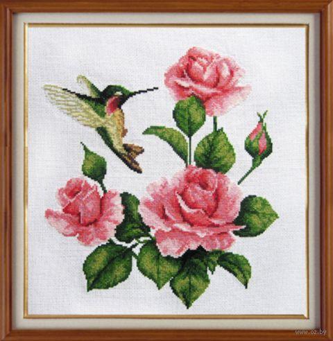 "Вышивка крестом ""Розы и колибри"" (280х280 мм) — фото, картинка"