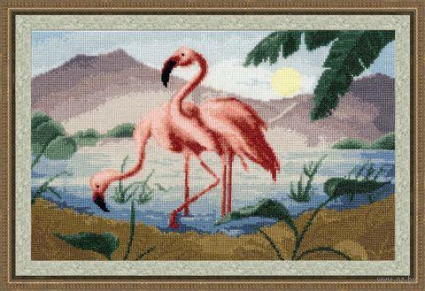 """Вышивка крестом """"Розовые фламинго"""" (220x360 мм) — фото, картинка"""