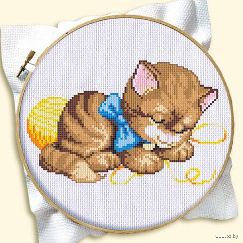 "Вышивка крестом ""Котенок с клубком"" (120x160 мм; арт. ДН-141) — фото, картинка"