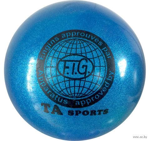 Мяч для художественной гимнастики RGB-102 (19 см; синий с блёстками) — фото, картинка