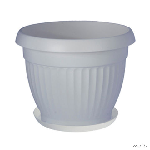 """Цветочный горшок с подставкой """"Дона"""" (25 см; белый) — фото, картинка"""
