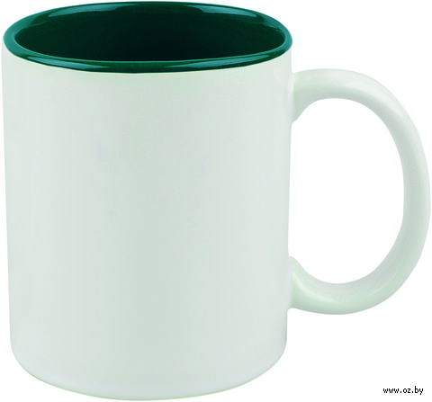 Кружка керамическая (320 мл; белый/зеленый)