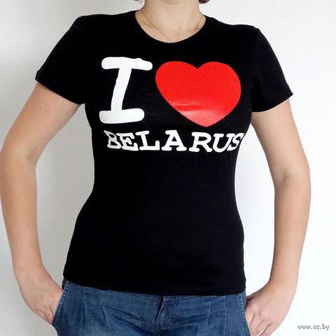 "Футболка женская L ""I LOVE BELARUS"" (черная)"