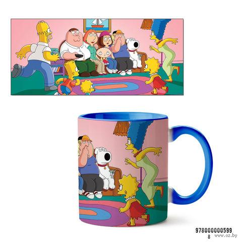 """Кружка """"Симпсоны и Гриффины"""" (599, голубая)"""