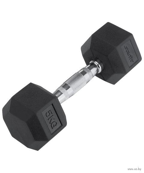 Гантель обрезиненная DB-301 (5 кг; чёрная) — фото, картинка