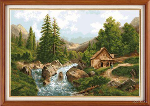 """Вышивка крестом """"Горный пейзаж"""" (470х310 мм) — фото, картинка"""