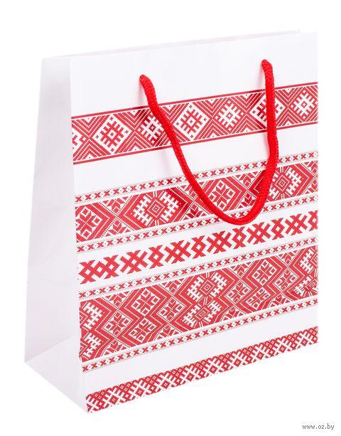 """Пакет бумажный подарочный """"Вышиванка"""" (18х23х8 см) — фото, картинка"""