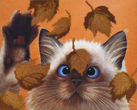 "Вышивка бисером ""Котик в листьях"" (220х280 мм) — фото, картинка"