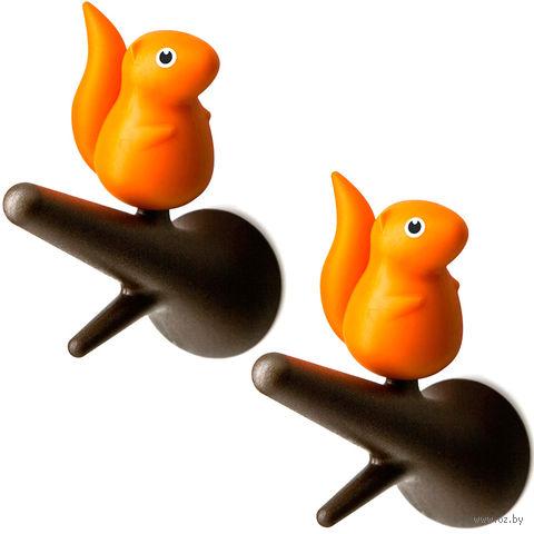 """Вешалки настенные """"Squirrel"""" (коричневые/оранжевые, 2 шт)"""