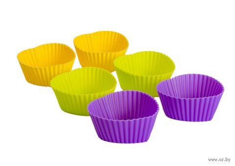 Форма силиконовая для выпекания кексов (6 шт.; 70х70х32 мм) — фото, картинка