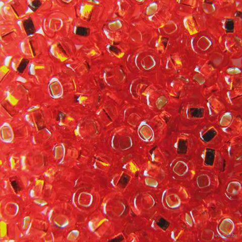 Бисер прозрачный с серебристым центром №97050 (оранжево-красный; 10/0)