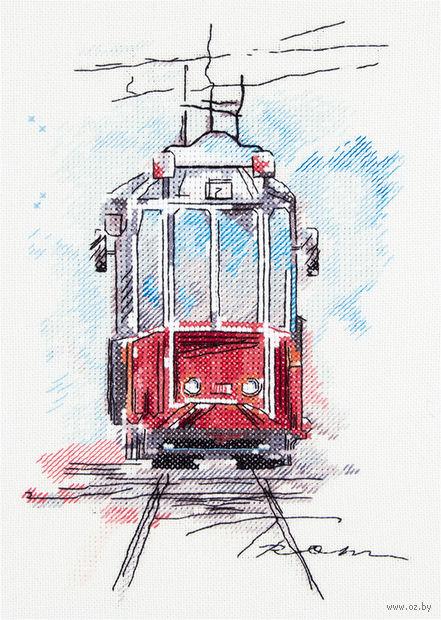 """Вышивка крестом """"Городской трамвай"""" (170x250 мм) — фото, картинка"""